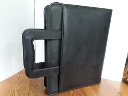 BLACK LEATHER TOTE BINDER OFFICE ORGANIZER EXECUTIVE PORTFOL