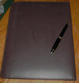 Cutter and Buck dark brown leather writing portfolio with J