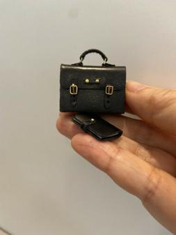 Dollhouse Miniature Handcrafted Real Leather Briefcase Portf