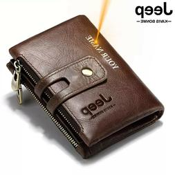 Genuine Leather Men Wallet Coin Purse Small Mini Card Holder