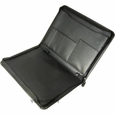 black a4 zipped faux leather conference folder