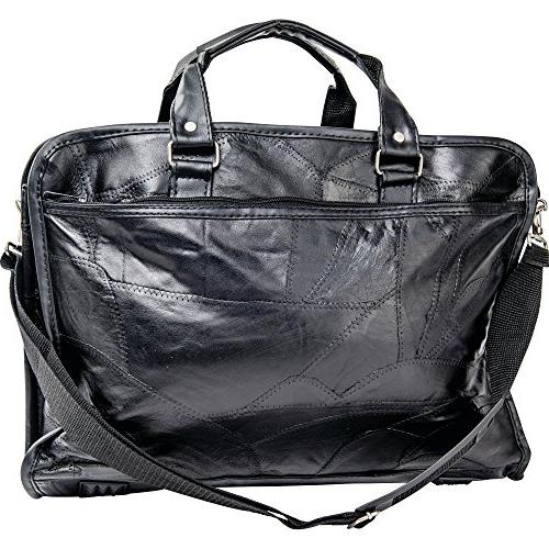 Maxam Leather Briefcase outside zippered pockets on BCLBC