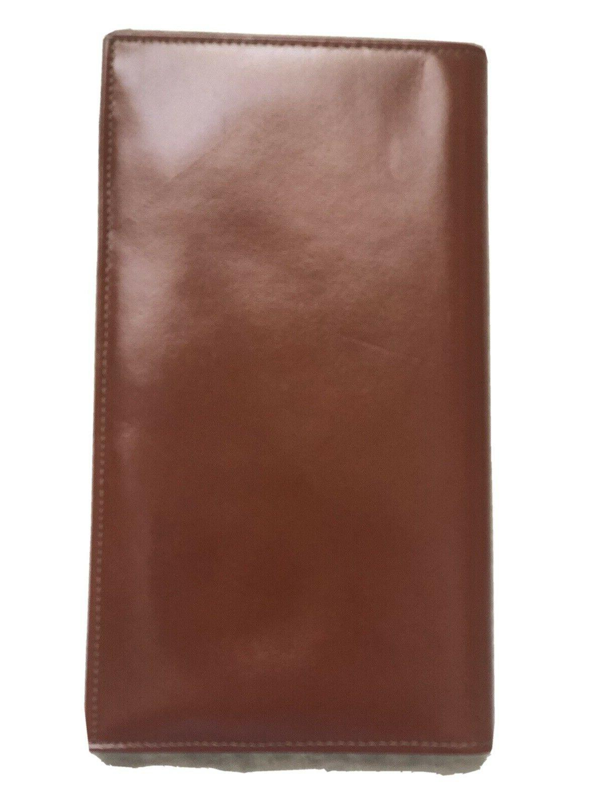 mens portfolio brown leather wallet never used