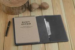 Leather Field Notes Steno Book Holder Refillable Black Gift