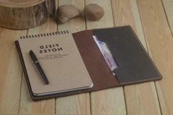 Leather Field Notes Steno Book Holder Refillable Brown Gift