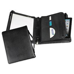 "Samsill Leather Multi-Ring Zippered Portfolio Two-Part 1"" Ca"