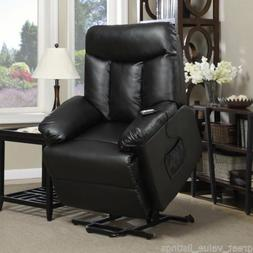 ProLounger Lya Black Renu Leather Lift Power Recline Wall Hu
