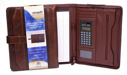Majestic Goods Executive Brown Leather Portfolio with Strap