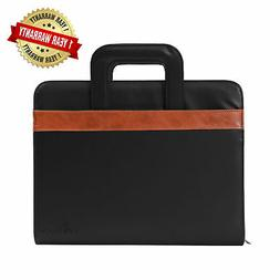 New DEERLUX Black Leather Business Portfolio with Handle, In
