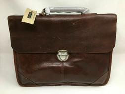 Wilsons Leather New York Rugged Portfolio Briefcase Brown NW