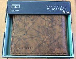 Perry Ellis Portfolio Passcase Leather Wallet Brown