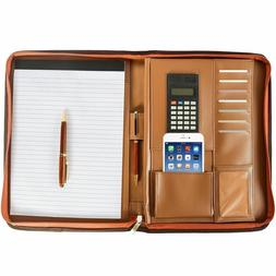 Premium Leather Business Portfolio with Zippered Closure FRE