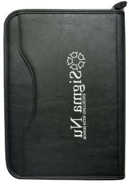 SIGMA NU FRATERNITY BLACK FAUX LEATHER ZIPPERED BUSINESS NOT