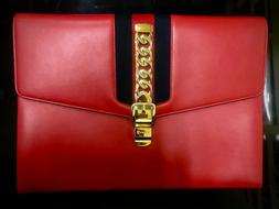 Gucci Sylvie Leather Portfolio in Red I 100% Authentic